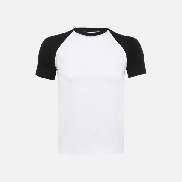 Vit/Svart (herr) T-shirts i herr- och dammodell med kontrasterande färg - med reklamtryck