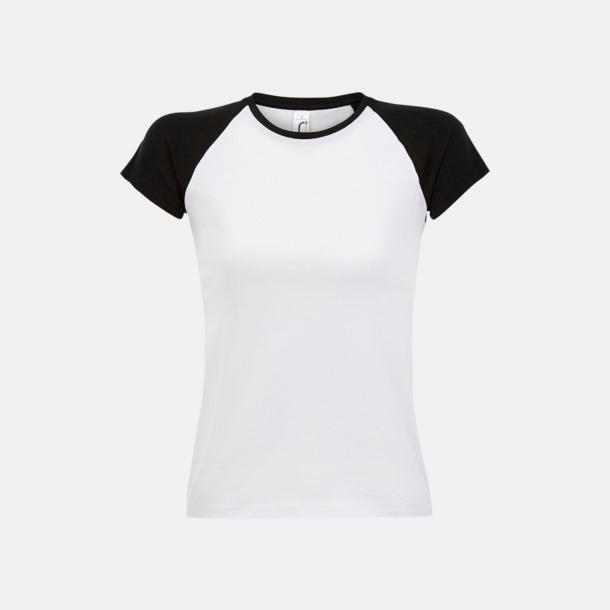 Vit/Svart (dam) T-shirts i herr- och dammodell med kontrasterande färg - med reklamtryck