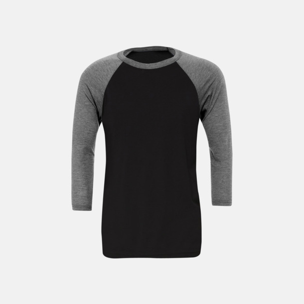 Svart/Deep Heather (unisex) Baseball t-shirts för små & vuxna med reklamtryck