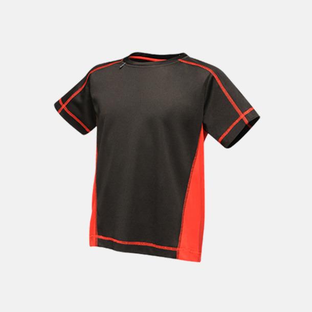 Svart/Classic Red (barn) 2-färgade funktions t-shirts med reklamtryck