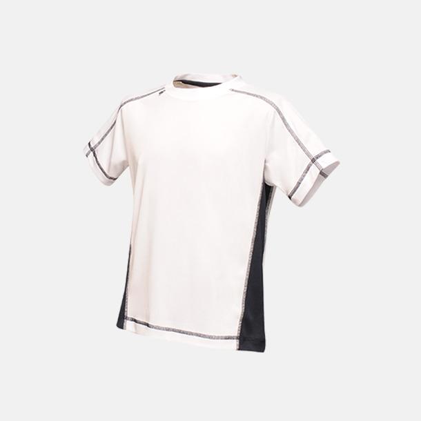 Vit/Marinblå (barn) 2-färgade funktions t-shirts med reklamtryck