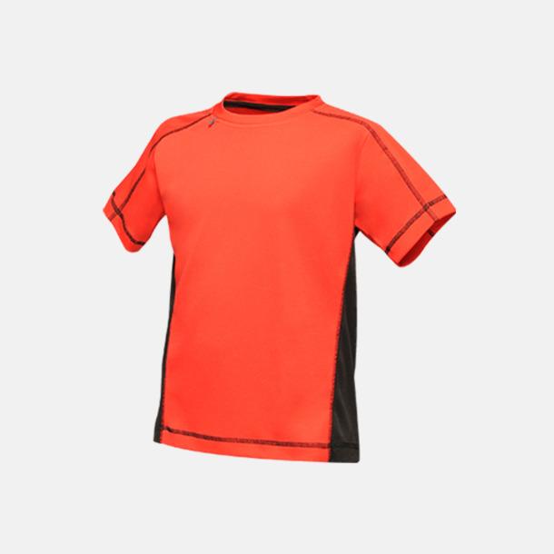 Classic Red/Svart (barn) 2-färgade funktions t-shirts med reklamtryck