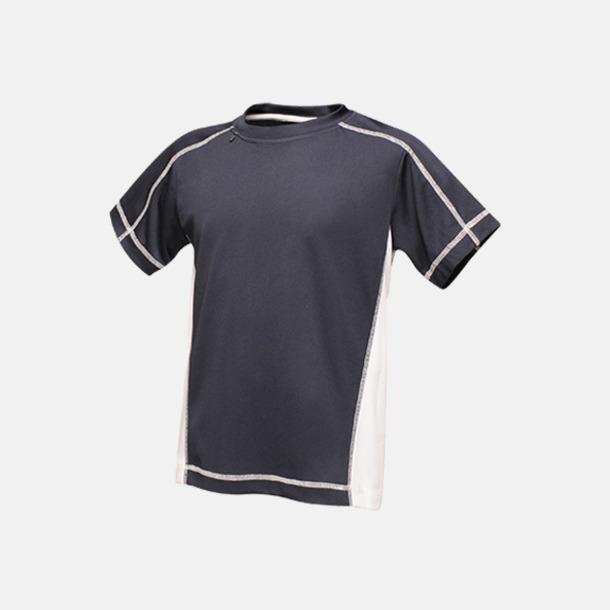 Marinblå/Vit (barn) 2-färgade funktions t-shirts med reklamtryck