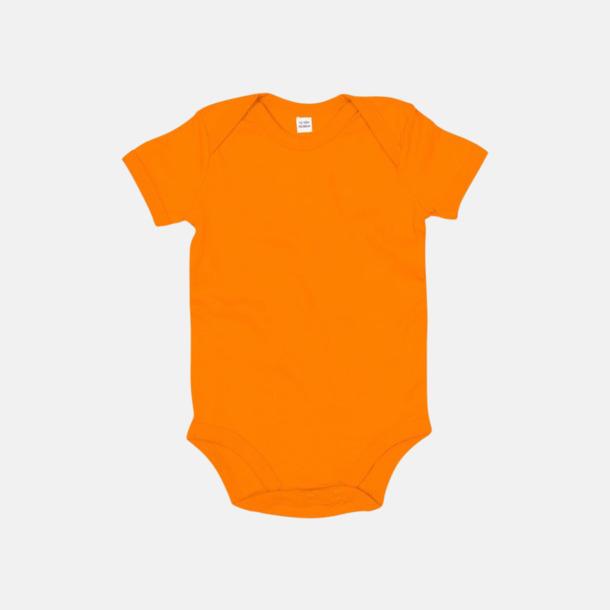 Orange (kort) Ekologiska bodysuits med korta eller långa ärmar - med reklamtryck