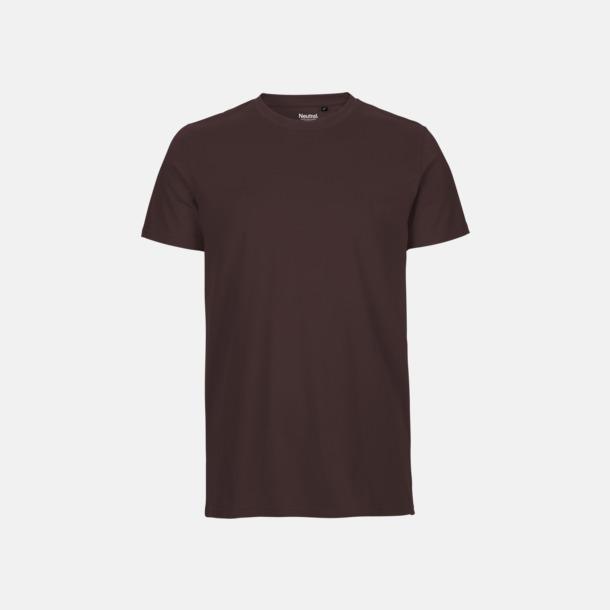 Brun (herr) Fitted t-shirts i ekologisk fairtrade-bomull med tryck