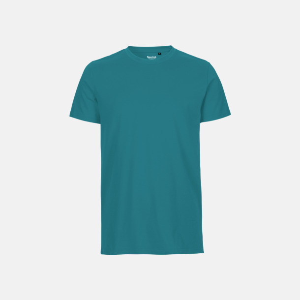 Teal (herr) Fitted t-shirts i ekologisk fairtrade-bomull med tryck