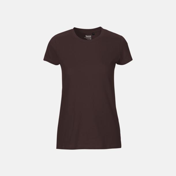 Brun (dam) Fitted t-shirts i ekologisk fairtrade-bomull med tryck