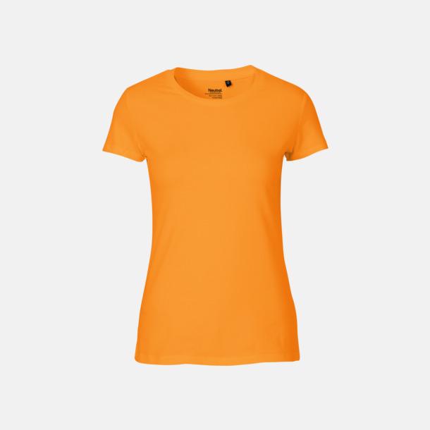 Okay Orange (dam) Fitted t-shirts i ekologisk fairtrade-bomull med tryck