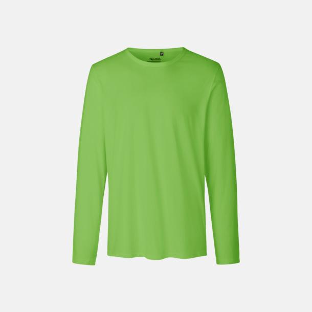 Långärmad Lime (herr) Fitted t-shirts i ekologisk fairtrade-bomull med tryck