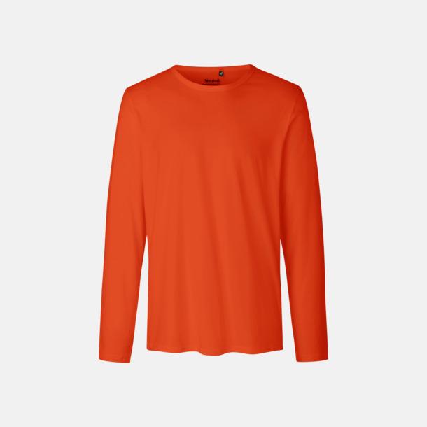 Långärmad Orange (herr) Fitted t-shirts i ekologisk fairtrade-bomull med tryck