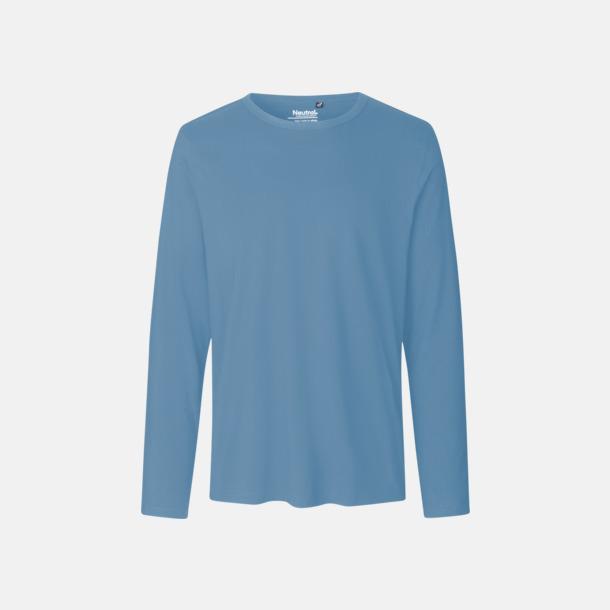 Långärmad Dusty Indigo (herr) Fitted t-shirts i ekologisk fairtrade-bomull med tryck