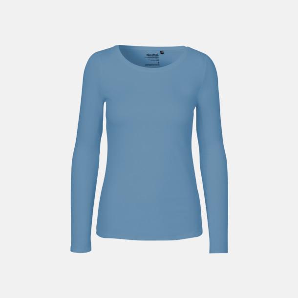 Långärmad Dusty Indigo (dam) Fitted t-shirts i ekologisk fairtrade-bomull med tryck