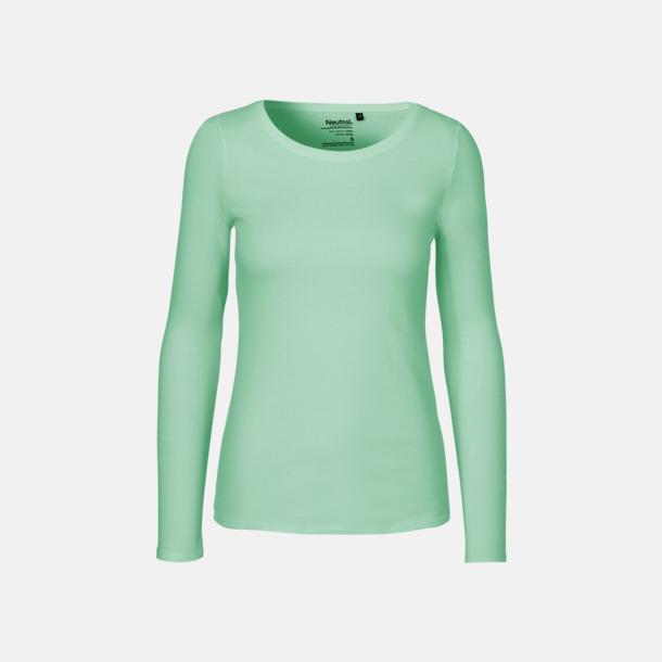Långärmad Dusty Mint (dam) Fitted t-shirts i ekologisk fairtrade-bomull med tryck