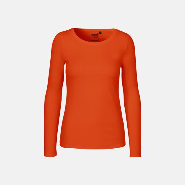 Långärmad Orange (dam) Fitted t-shirts i ekologisk fairtrade-bomull med tryck
