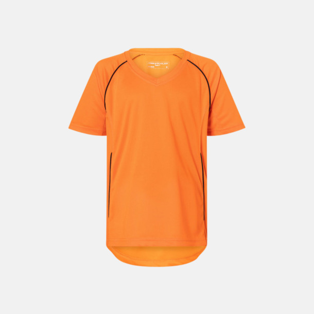 Orange / Svart T-shirt i funktionsmaterial med eget tryck