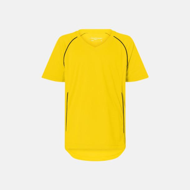 Gul / Svart T-shirt i funktionsmaterial med eget tryck