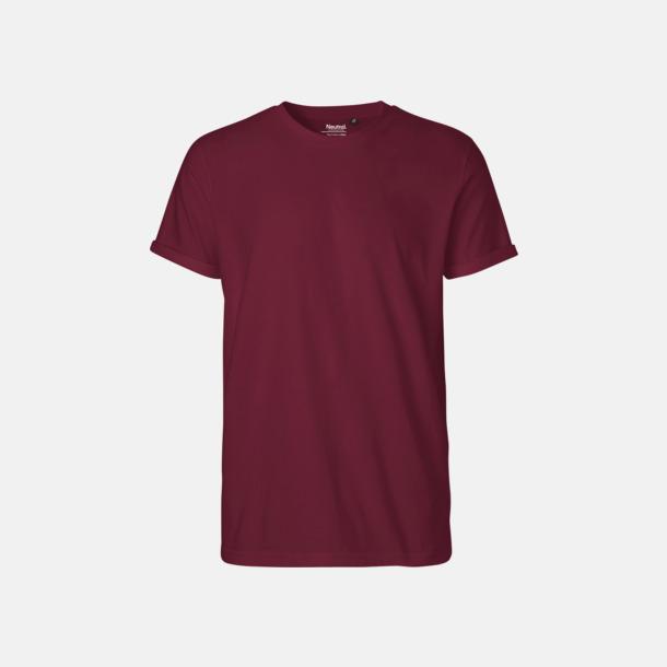 Bordeaux (herr) Eko & Fairtrade-certifierade t-shirts med roll up sleeves - med reklamtryck