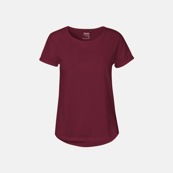 Bordeaux (dam) Eko & Fairtrade-certifierade t-shirts med roll up sleeves - med reklamtryck