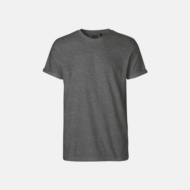 Dark Heather melange (herr) Eko & Fairtrade-certifierade t-shirts med roll up sleeves - med reklamtryck