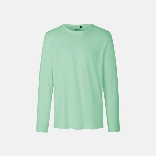 Långärmad Dusty Mint (herr) Fitted t-shirts i ekologisk fairtrade-bomull med tryck