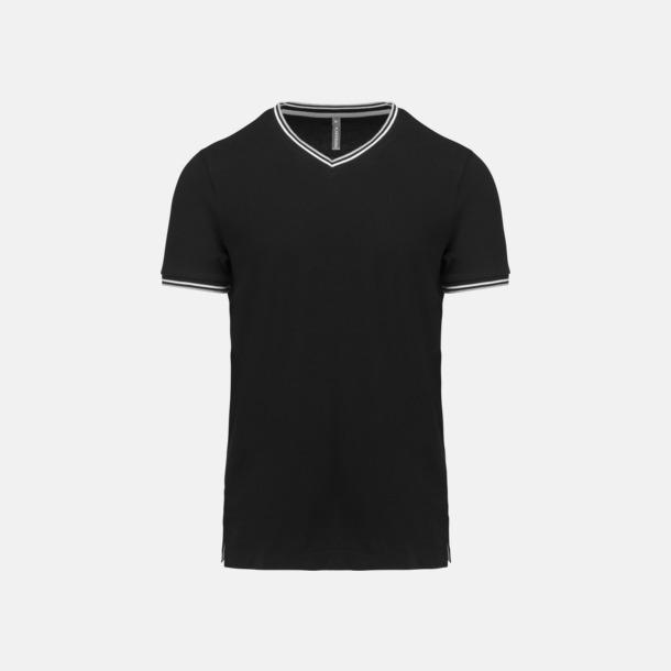 Svart/Ljusgrå/Vit (herr) Unika bomulls t-shirts med reklamtryck