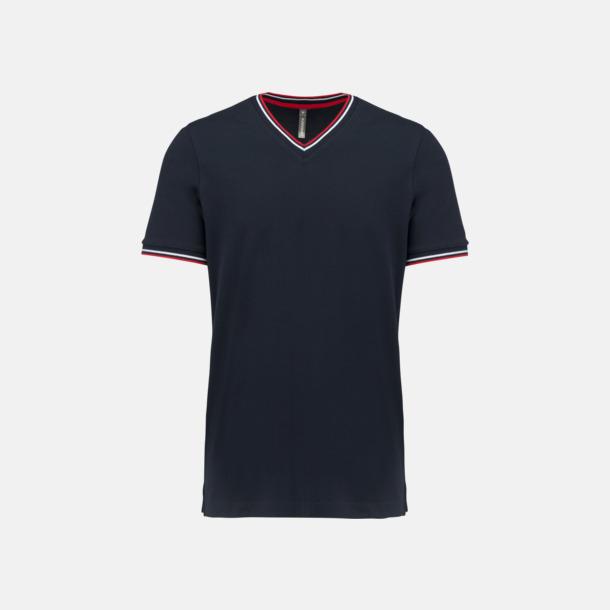 Marinblå/Röd/Vit (herr) Unika bomulls t-shirts med reklamtryck