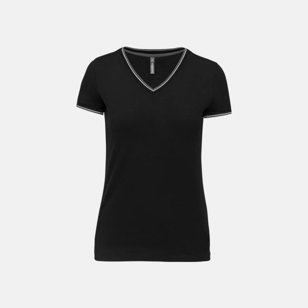 Svart/Ljusgrå/Vit (dam) Unika bomulls t-shirts med reklamtryck