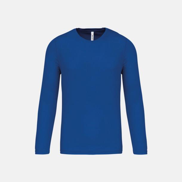 Sporty Royal Blue Sport t-shirts med långa ärmar för män - med reklamtryck