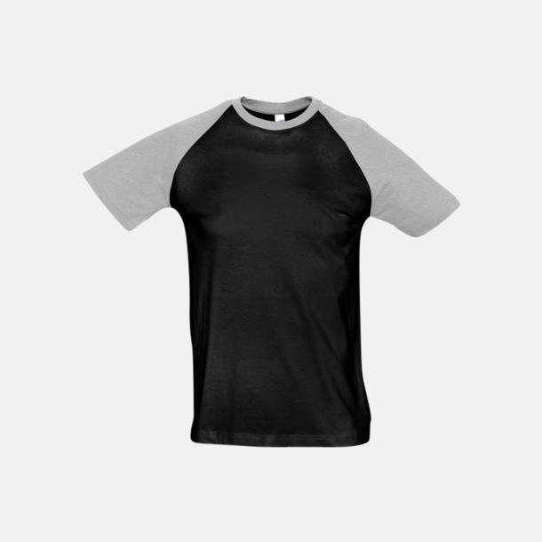 Svart/Grey Melange (herr) T-shirts i herr- och dammodell med kontrasterande färg - med reklamtryck
