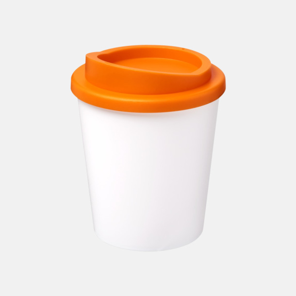 Vit / Orange Fina 25 cl take away-muggar med reklamtryck