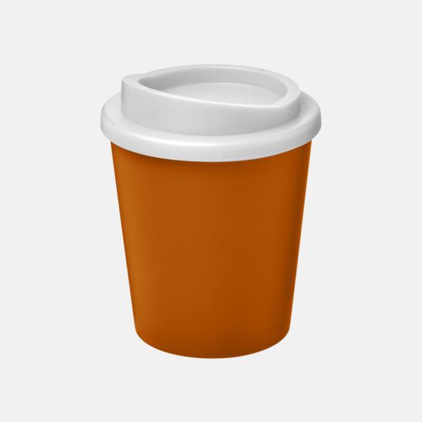 Orange / Vit Fina 25 cl take away-muggar med reklamtryck