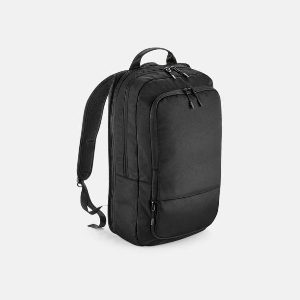 Svart Expanderbara laptop-ryggsäckar med reklamtryck