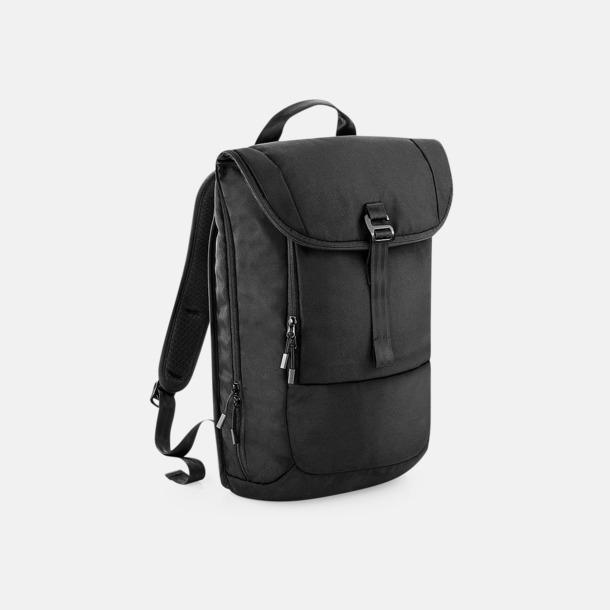 Svart Expanderbara ryggsäckar med reklamtryck