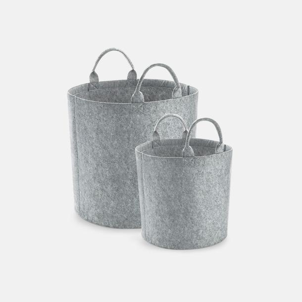 Grey Melange Filtkorgar med reklamtryck