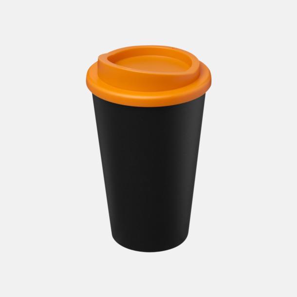 Svart / Orange Take away-muggar i återvunnet material med reklamtryck