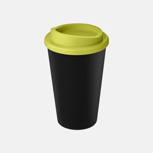 Svart/Lime Take away-muggar i återvunnet material med reklamtryck