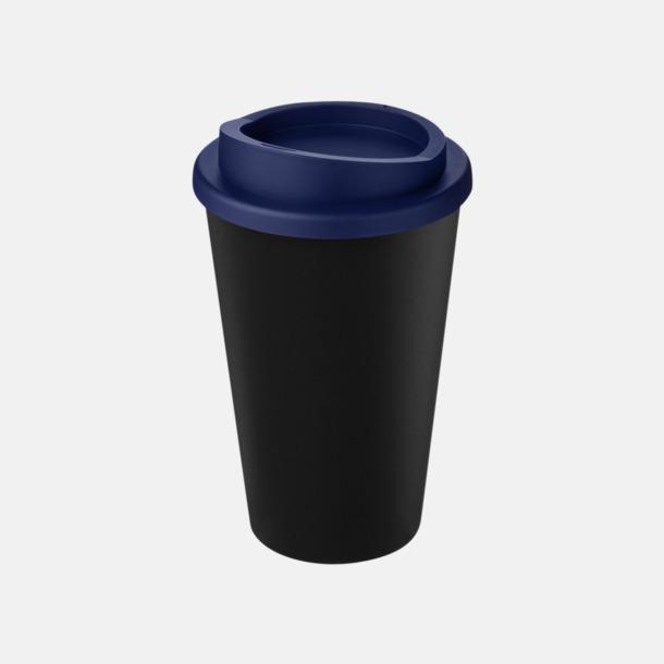 Svart/Blå Take away-muggar i återvunnet material med reklamtryck