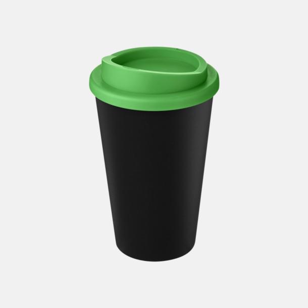 Svart / Grön Take away-muggar i återvunnet material med reklamtryck