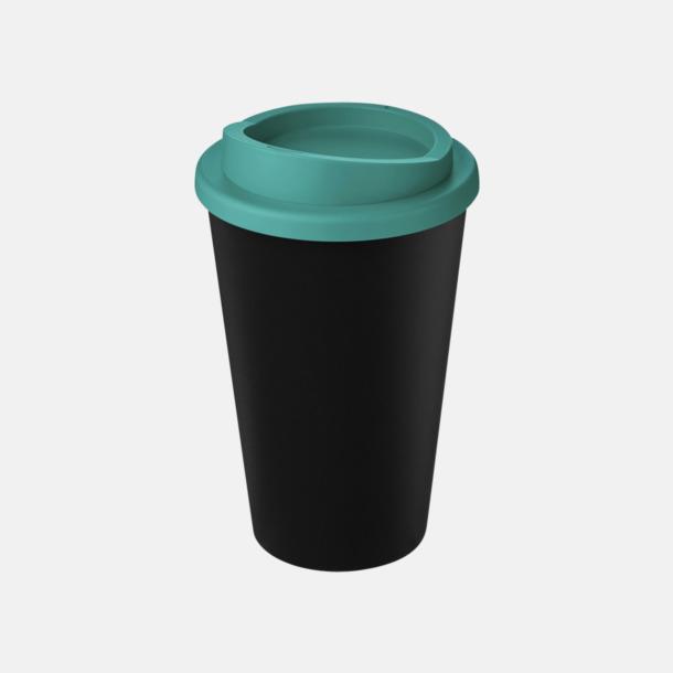 Svart/Aqua Take away-muggar i återvunnet material med reklamtryck