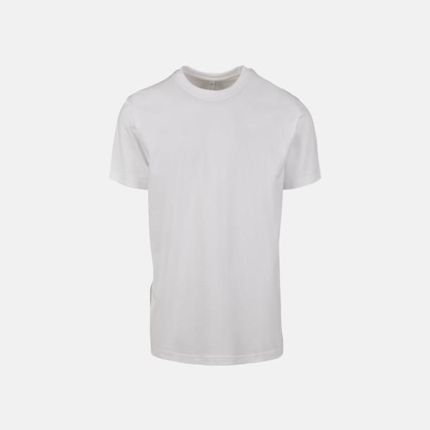 Vit Herr t-shirt med centrerad ryggsöm - med reklamtryck