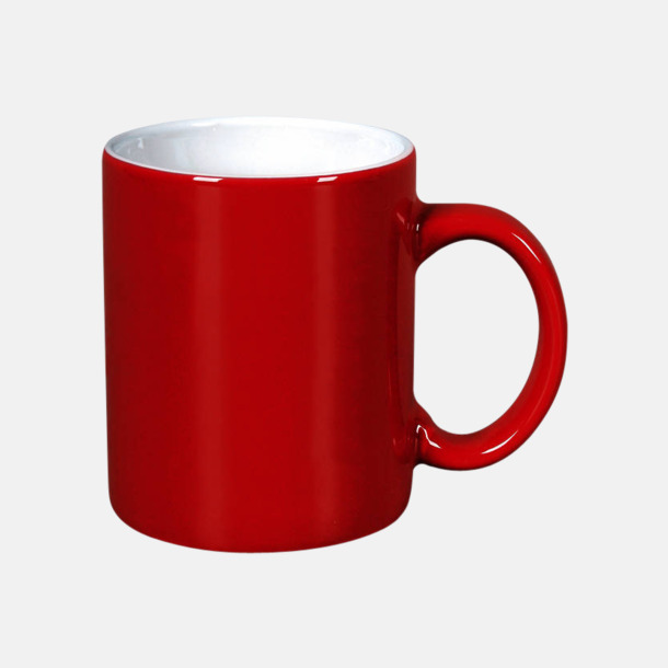 Röd / Vit Basmugg 300 ml - med tryck