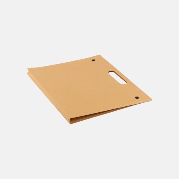 Khaki / Sand Miljövänliga konferensmappar med block, blad och penna - med reklamtryck